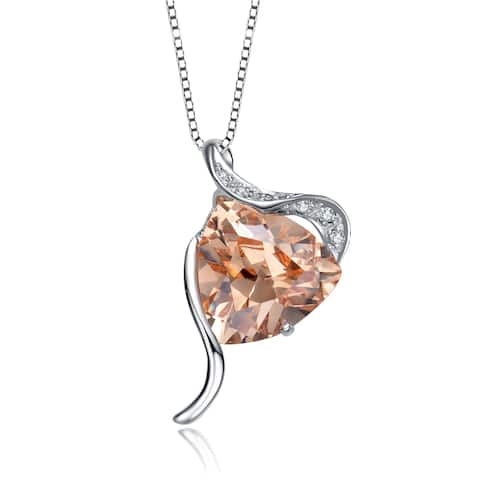 Collette Z Sterling Silver with Rhodium Plated Champagne Trillion with Clear Round Cubic Zirconia Swirl Drop Necklace
