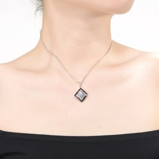 Collette Z Sterling Silver With Rhodium Plated Clear Princess With Black Round Cubic Zirconia Halo Square Pendant Necklace