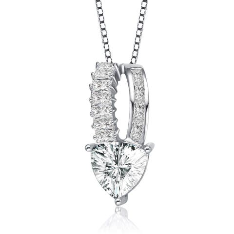Collette Z Sterling Silver with Rhodium Plated Clear Trillion with Baguette Cubic Zirconia Accent Drop Necklace