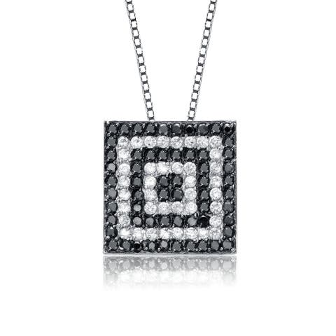 Collette Z Sterling Silver with Rhodium Plated Clear and Black Round Cubic Zirconia Square Drop Necklace