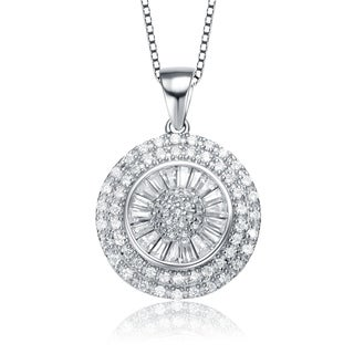 Collette Z Sterling Silver With Rhodium Plated Clear Round With Baguette Cubic Zirconia Cluster Halo Drop Necklace