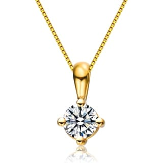 Collette Z Sterling Silver With Gold Plated Clear Round Cubic Zirconia Solitaire Necklace