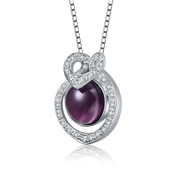 Sterling Silver Rhodium-plated w//CZ and Amethyst Pendant
