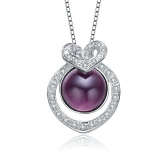 Collette Z Sterling Silver With Rhodium Plated Purple Faux Amethyst With Clear Round Cubic Zirconia Heart Swirl Drop Necklace