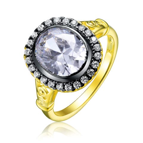 Collette Z Sterling Silver with Gold and Black Plated Clear Oval with Round Cubic Zirconia Halo Engagement Ring