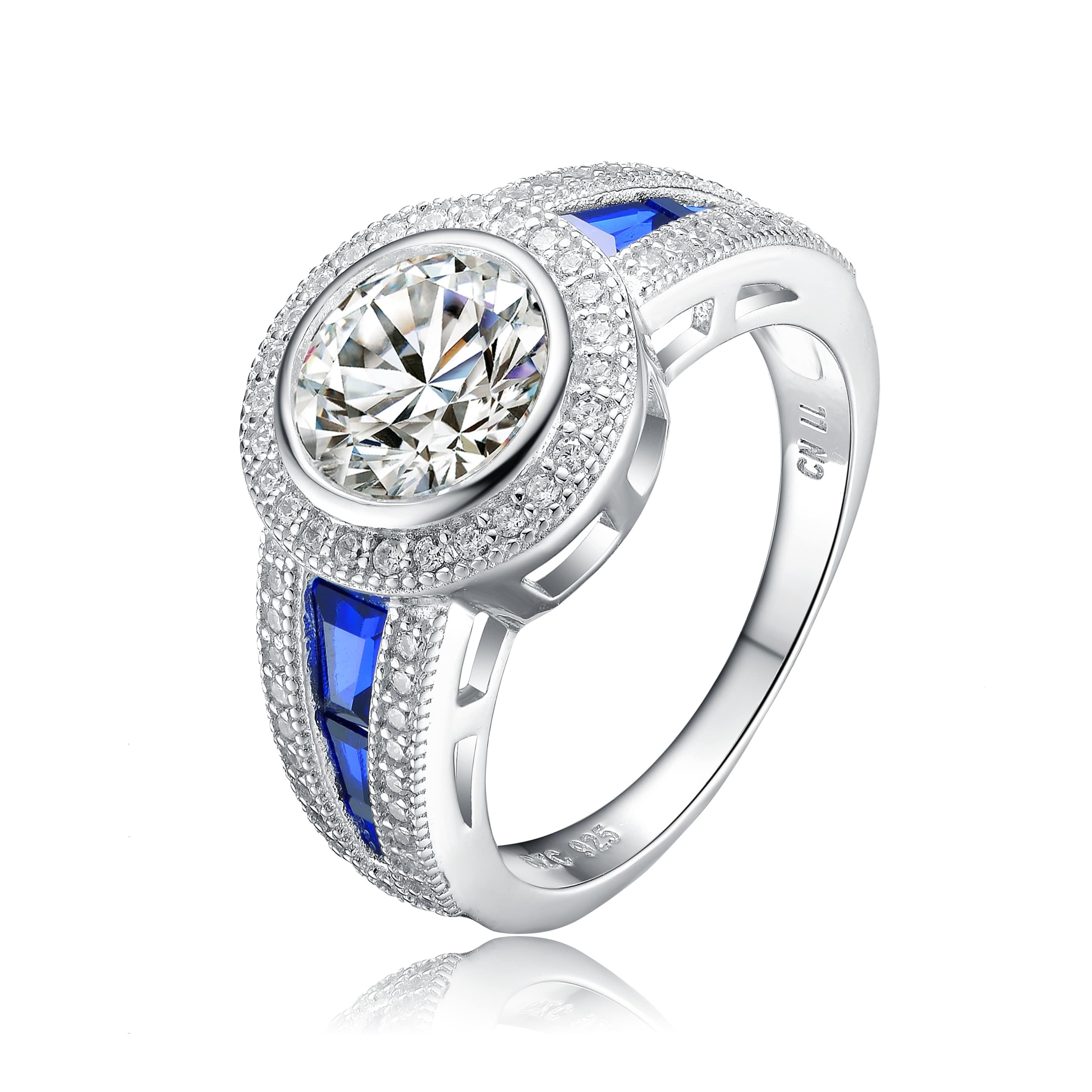 Round Clear Cubic Zirconia Solitaire Ring Rhodium Plated Sterling Silver