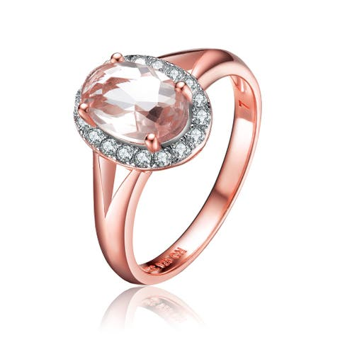 Collette Z Sterling Silver with Rose Gold Plated Morganite Oval with Clear Round Cubic Zirconia Halo Ring