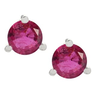 Michael Valitutti Palladium Silver Rubelite Stud Earrings