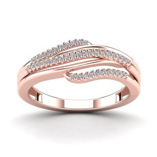 AALILLY 10k Rose Gold 1/10ct TDW Diamond Fashion Ring (H-I, I1-I2)