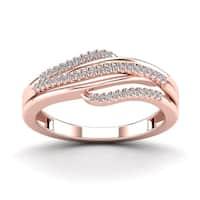 AALILLY 10k Rose Gold 1/10ct TDW Diamond Fashion Ring (H-I, I1-I2)