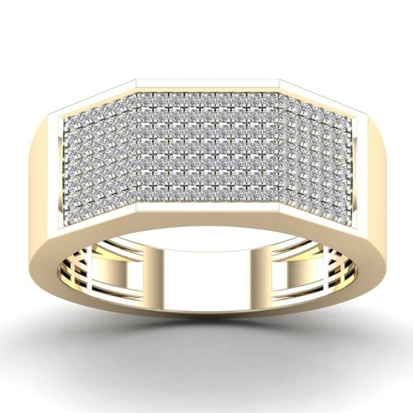 AALILLY Men's 10k Yellow Gold 1/2ct TDW Diamond Square Fashion Ring (H-I, I1-I2)