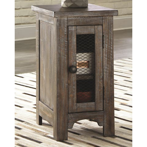Signature Design by Ashley Danell Ridge Brown Solid Pine Wood Chairside End Table