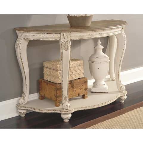 Realyn Sofa Table - White/Brown