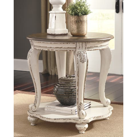 Signature Design by Ashley Realyn White/Brown Wood End Table