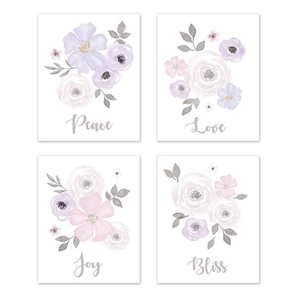 Sweet Jojo Designs Lavender Purple Pink Grey Watercolor Fl Collection Wall Decor Art Prints Set Of 4 Peace Love Joy Bliss