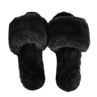 Shearling Fur Slippers, Black, ASST Pack