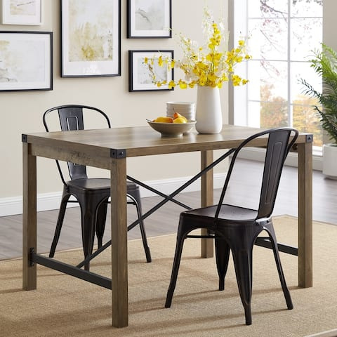 The Gray Barn Kujawa Metal X Accent Dining Table