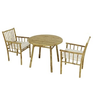 Dining Set of 2 Armchairs with White Cushions and Accent Round Table