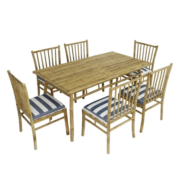 Shop Dining Set Of 6 White Blue Stripes Bamboo Chairs Rectangular