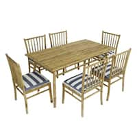 Dining Set Of 6 White Blue Stripes Bamboo Chairs Rectangular Table