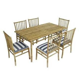 Dining Set of 6 Bamboo Chairs with White Blue Stripe Cushion and Large Rectangular Table