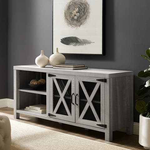 The Gray Barn Kujawa Barn Door TV Stand Console