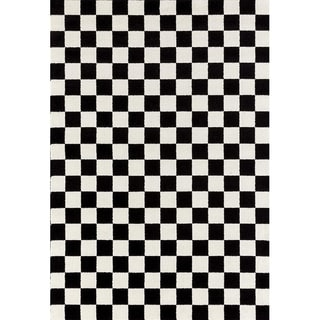 """1909 Checkered Black and White 5 x 7 Area Rug - 5'2"""" x 7'2"""""""