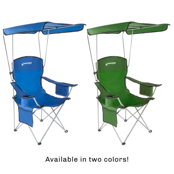 Wakeman Outdoors Camp Chair with Canopy-300lb Cooler Camping Fishing Capacity Sunshade Quad Seat with Cup Holder Carry Bag-Tailgating