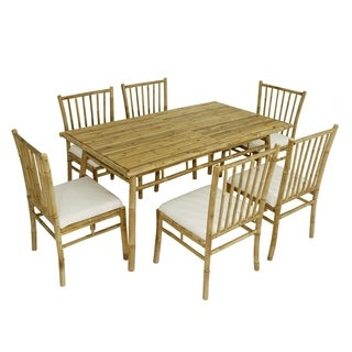 Dining Set of 6 Bamboo Chairs with White Cushion and Large Rectangular Table