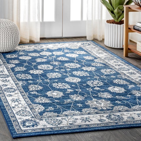 Copper Grove Artik Medallion Navy/Light Grey Distressed Area Rug