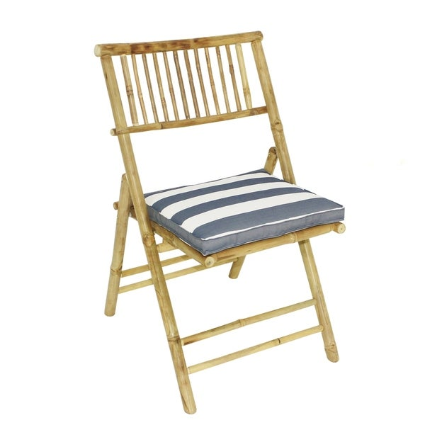 Bamboo Folding Accent Dining Chair Natural Color With Blue White Stripes Cushion Set Of 2 Chairs Free Shipping Today 25895740