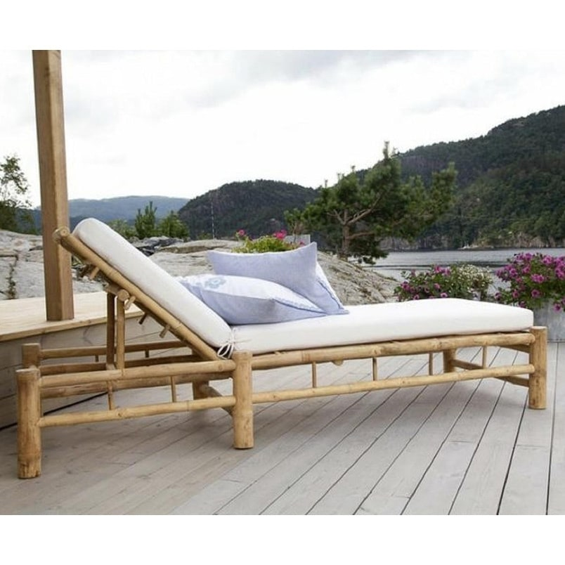 Havenside Home Pilot Point Adjustable Bamboo Lounge Chair with White  Mattress