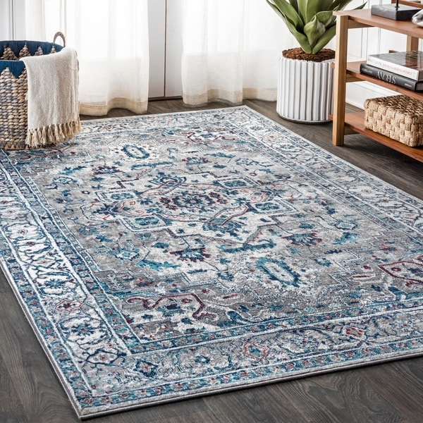 The Curated Nomad Townsend Modern Persian Medallion Light Grey/Pink Distressed Area Rug