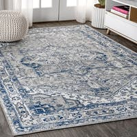Copper Grove Konispal Modern Persian Vintage Medallion Light Grey/Navy Distressed Area Rug