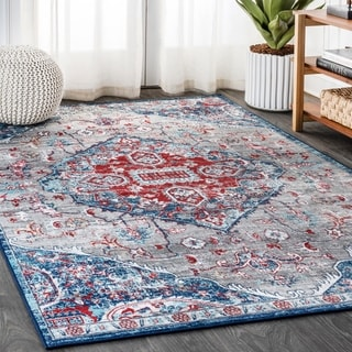 JONATHAN  Y Modern Persian Vintage Medallion Light Red/Navy Distressed Area Rug