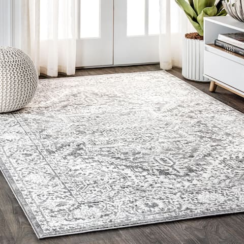 JONATHAN Y Modern Persian Vintage Medallion Light Grey Distressed Area Rug