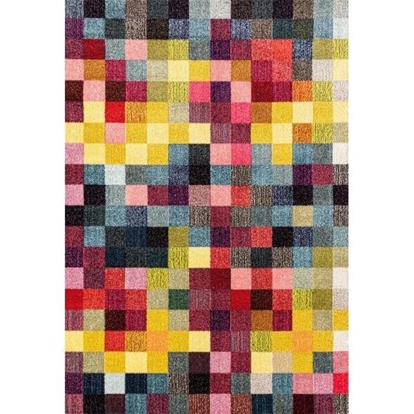 """328 Checkered Multi Colored 5 x 7 Area Rug - 5'2"""" x 7'2"""""""