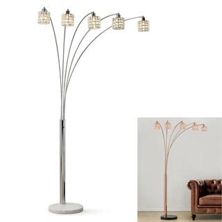 "Flair 83""H LED Dimmable 5-light Crystal Shade Arch Floor Lamp"