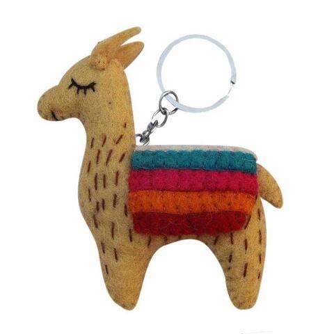 Handmade Felt Tan Llama Keychain (Nepal)