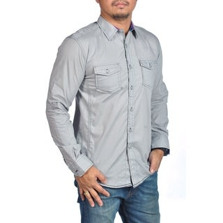 Long Sleeve Dress Shirt Button Down Chest Pocket Gray Black Stitches