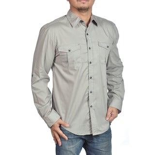 Long Sleeve Dress Shirt Button Down Button Closure Chest Pocket Silver