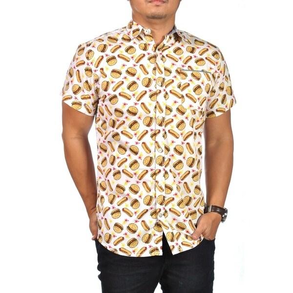 099de4cb5a1c Shop Good Vibes Button Down Dress Shirt Hamburger Hotdog Print White - On  Sale - Free Shipping On Orders Over $45 - Overstock - 25896503