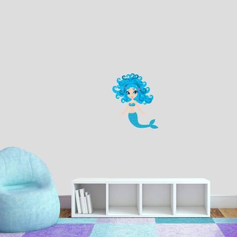 Blue Mermaid Printed Wall Decal