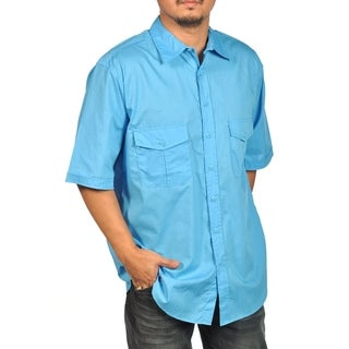 Bruno Short Sleeve Button Down Dress Shirt Blue