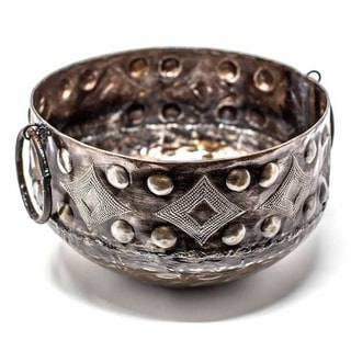 The Curated Nomad Haitia Handmade Hammered Metal Bowl with Handles