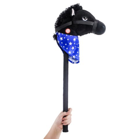 "Ponyland Giddy-Up 28"" Stick Horse Plush, Black Horse w/sound"