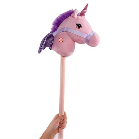 "Ponyland Giddy-Up Fantasy 28"" Stick Horse Plush, Pink Unicorn w/sound"