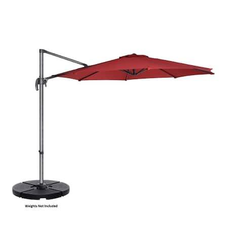 Villacera 10' Cantilever Umbrella with 360 Degree Pole Vertical Tilt, Base Included
