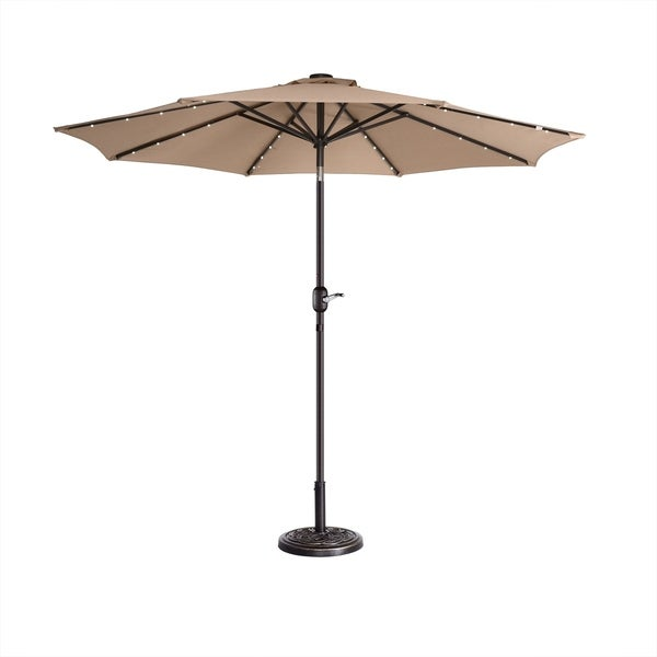 Led Patio Umbrella Reviews: Shop Villacera 9' LED Lighted Umbrella With 8 Steel Ribs