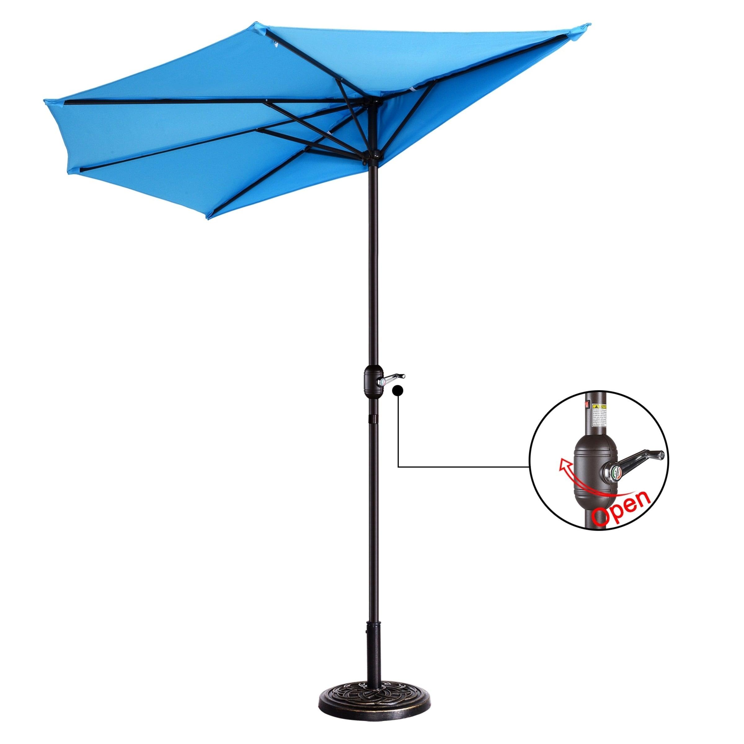 Patio Half Umbrella With 5 Ribs